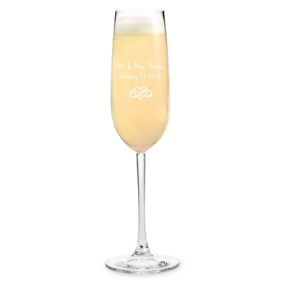 Engraved Glass Wedding Champagne Flute