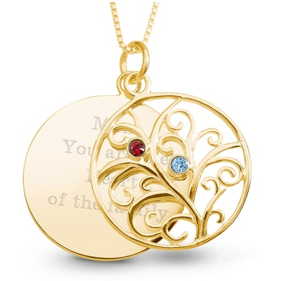 14K Gold 2 Birthstone Family Necklace with complimentary Filigree Keepsake Box - Sterling Silver Necklaces