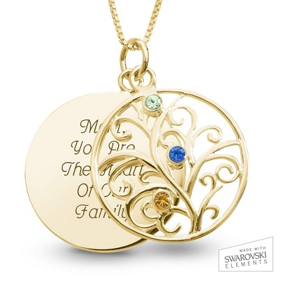 14K Gold 3 Birthstone Family Necklace with complimentary Filigree Keepsake Box - Sterling Silver Necklaces