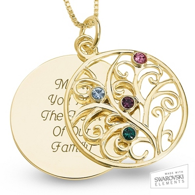 14K Gold 4 Birthstone Family Necklace with complimentary Filigree Keepsake Box - Sterling Silver Necklaces