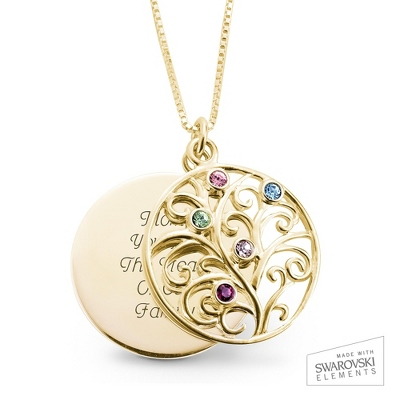 14K Gold 5 Birthstone Family Necklace with complimentary Filigree Keepsake Box - Sterling Silver Necklaces