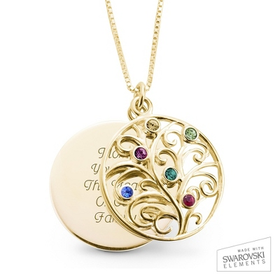 14K Gold 6 Birthstone Family Necklace with complimentary Filigree Keepsake Box - Sterling Silver Necklaces