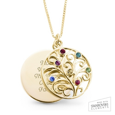 14K Gold 7 Birthstone Family Necklace with complimentary Filigree Keepsake Box - Sterling Silver Necklaces