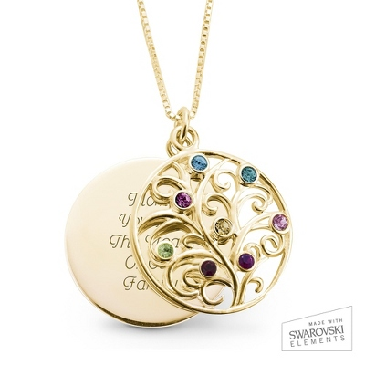 14K Gold 8 Birthstone Family Necklace with complimentary Filigree Keepsake Box - Sterling Silver Necklaces