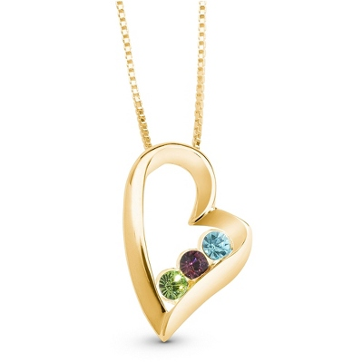 14K Gold/Sterling 3 Birthstone Necklace with complimentary Filigree Keepsake Box - $54.99