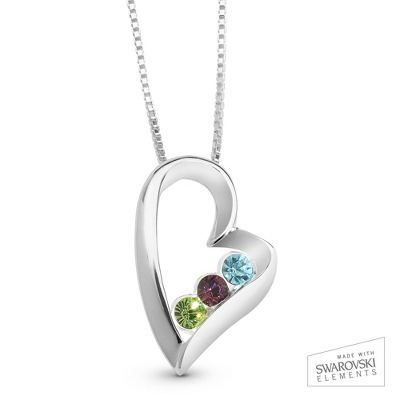 Sterling 3 Birthstone Heart Necklace with complimentary Filigree Keepsake Box - $47.99