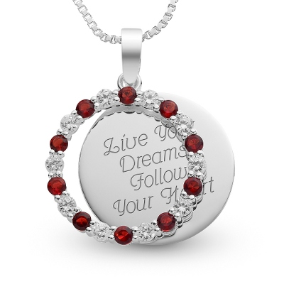 Sterling January Birthstone Pendant Necklace with complimentary Filigree Keepsake Box - Sterling Silver Necklaces