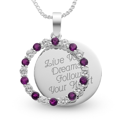 Sterling February Birthstone Pendant Necklace with complimentary Filigree Keepsake Box - Sterling Silver Necklaces