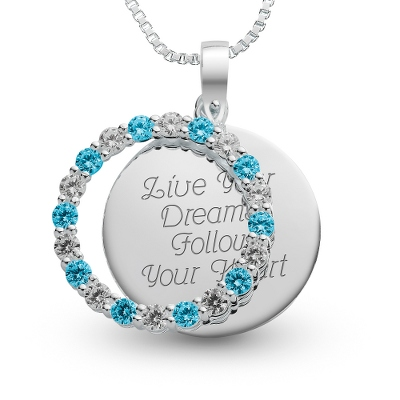 Sterling March Birthstone Pendant Necklace with complimentary Filigree Keepsake Box - Sterling Silver Necklaces