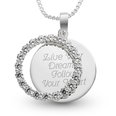 Sterling April Birthstone Pendant Necklace with complimentary Filigree Keepsake Box