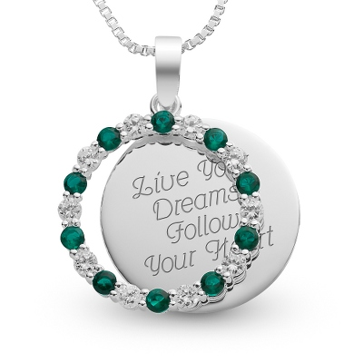 Sterling May Birthstone Pendant Necklace with complimentary Filigree Keepsake Box - Sterling Silver Necklaces