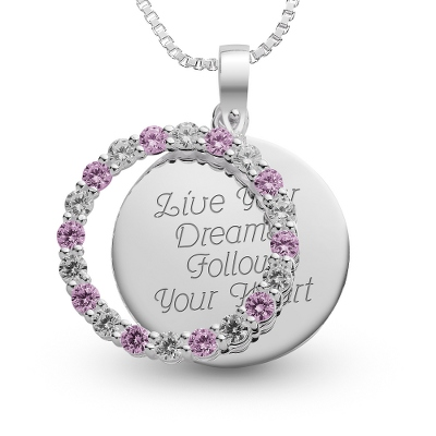 Sterling June Birthstone Pendant Necklace with complimentary Filigree Keepsake Box - Sterling Silver Necklaces