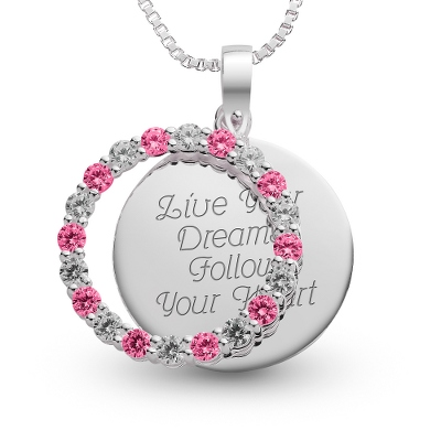 Sterling July Birthstone Pendant Necklace with complimentary Filigree Keepsake Box