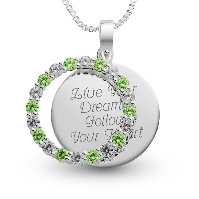 Sterling August Birthstone Pendant Necklace with complimentary Filigree Keepsake Box - Sterling Silver Necklaces
