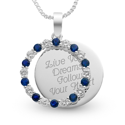 Sterling September Birthstone Pendant Necklace with complimentary Filigree Keepsake Box - UPC 825008185876