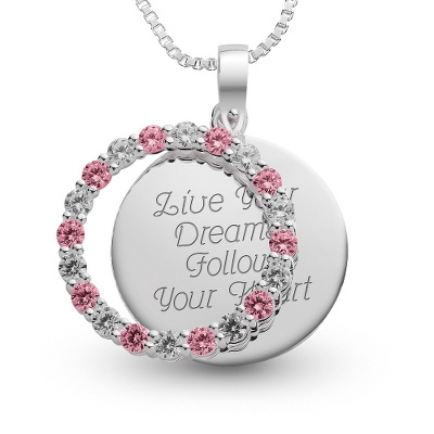 Sterling October Birthstone Pendant Necklace with complimentary Filigree Keepsake Box - Sterling Silver Necklaces