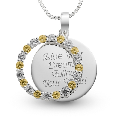 Sterling November Birthstone Pendant Necklace with complimentary Filigree Keepsake Box - Sterling Silver Necklaces