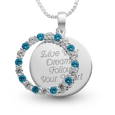 Sterling December Birthstone Pendant Necklace with complimentary Filigree Keepsake Box - Sterling Silver Necklaces