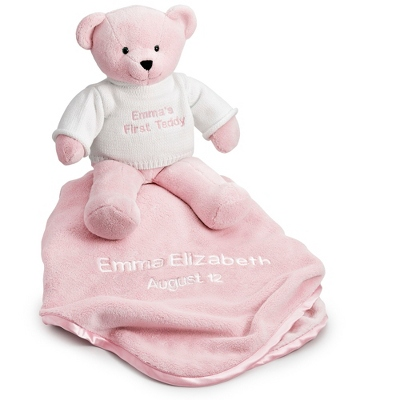 Personalized Pink Teddy Bear with Blanket