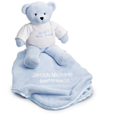 Personalized Blue Teddy Bear with Blanket