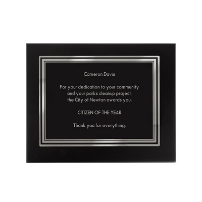 "8"" X 10"" Black Plaque - Awards & Plaques"
