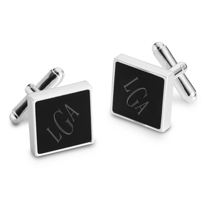 Black Matte Cuff Links with complimentary Tri Tone Valet Box - Men's Jewelry