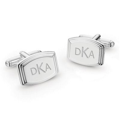 Engraved Silver Cuff Links with complimentary Tri Tone Valet Box - UPC 825008187542