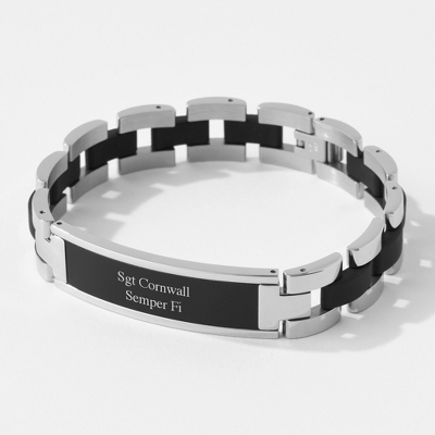 Black Matte ID Bracelet with complimentary Tri Tone Valet Box - Top Groomsmen Gifts