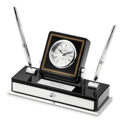 Personalized High Gloss Black Double Pen Stand with Marquetry Inlay Clock by Things Remembered