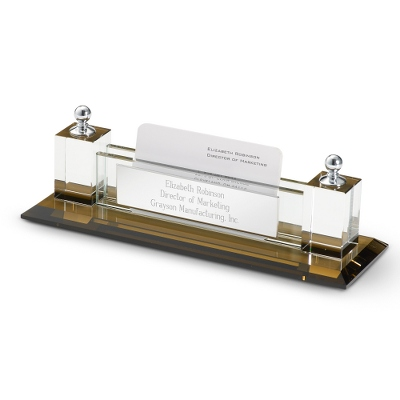 Engraved Glass Business Card Holder