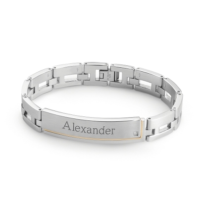 Stainless ID Bracelet with 18K Gold & Diamond Accents with complimentary Weave Texture Valet Box