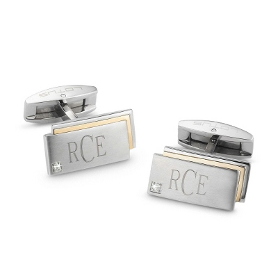 18K Gold & Diamond Accented Stainless Cuff Links with complimentary Weave Texture Valet Box