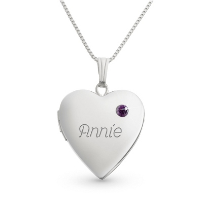 Sterling February Birthstone Locket with complimentary Filigree Keepsake Box - $49.99