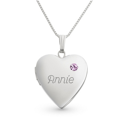 Sterling June Birthstone Locket with complimentary Filigree Keepsake Box - Sterling Silver Necklaces