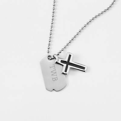 Boy's Black Cross Dog Tag - Vertical with complimentary Tri Tone Valet Box