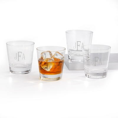 Set of Four Double Old Fashioned Glasses with Monogram - Barware & Accessories