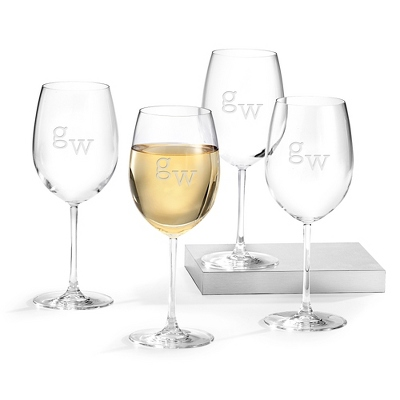 Set of Four White Wine Glasses with Monogram - Top 10 Bridesmaid Gifts