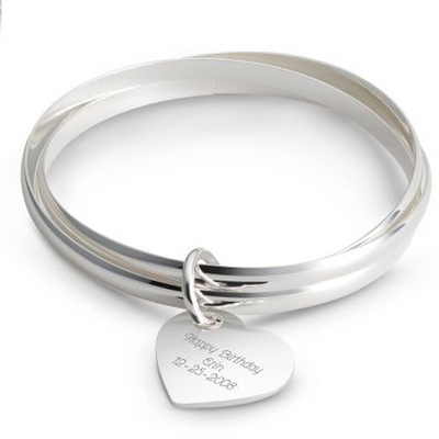 Triple Bangle Heart Bracelet with complimentary Classic Beveled Edge Round Keepsake Box