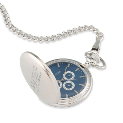 Three Dial Blue Pocket Watch - Men's Jewelry
