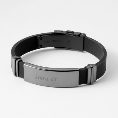 Gunmetal Rubber ID Bracelet with complimentary Tri Tone Valet Box - Men's Jewelry