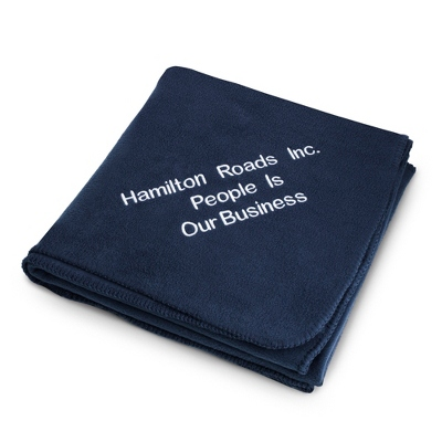 Embroidered Navy Fleece Throw - Business Gifts For Her