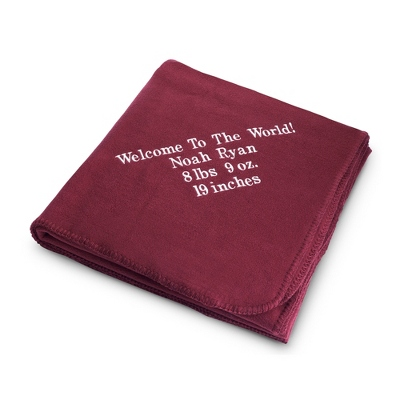 Embroidered Burgundy Fleece Throw