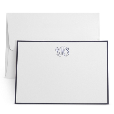 White Monogramed Cards with Raised Ink - UPC 825008195684