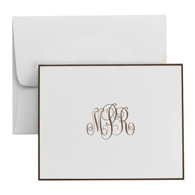 White Classic Monogram Bordered Notes - UPC 825008195707