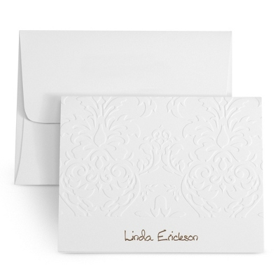 White Embossed Personalized Note Cards