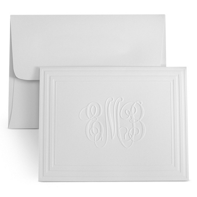 White Classic Frame Monogram Note Cards