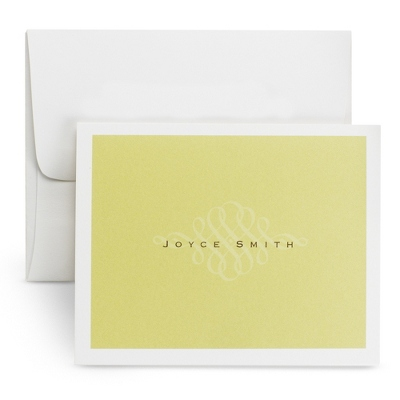 Delicate Green Scroll Note Cards