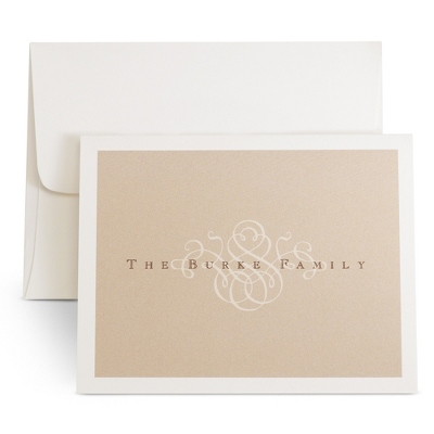 Delicate Brown Scroll Note Cards - UPC 825008195769