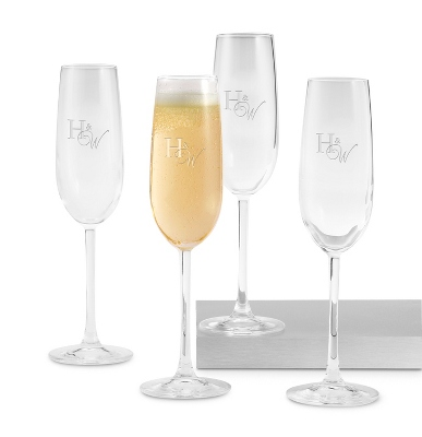 Set of Four Champagne Glasses with Monogram