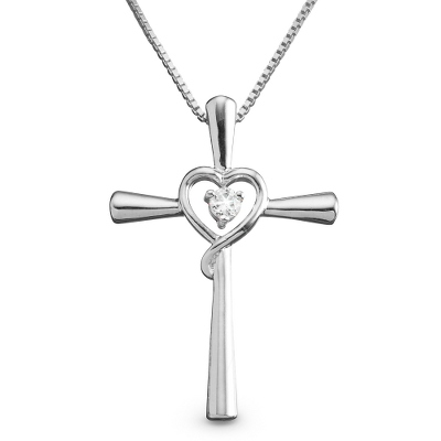 Sterling Silver CZ Cross and Heart Necklace with complimentary Filigree Keepsake Box